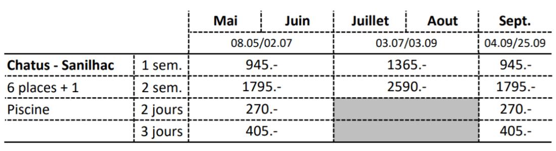 Grille Tarifaire 2021 Chatus
