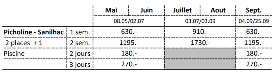 Grille Tarifaire 2021 Picholine